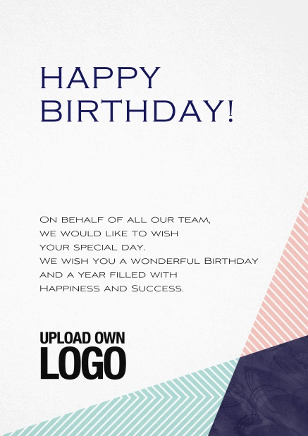 Corporate Birthday Greeting Card With Pink Blue And Black Elements