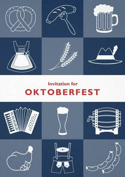 Card template for Oktoberfest invitations with fun images like beer, sausage, dirndl and lederhosen. Blue.