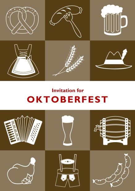 Card template for Oktoberfest online invitations with fun images like beer, sausage, dirndl and lederhosen. Brown.
