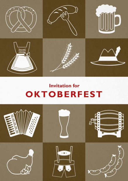 Card template for Oktoberfest invitations with fun images like beer, sausage, dirndl and lederhosen. Brown.