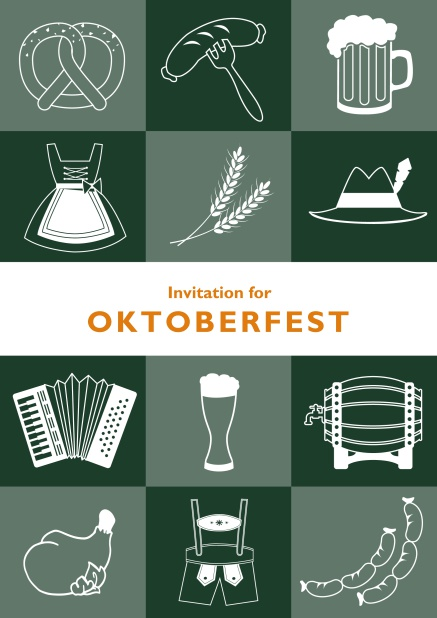 Card template for Oktoberfest online invitations with fun images like beer, sausage, dirndl and lederhosen. Green.