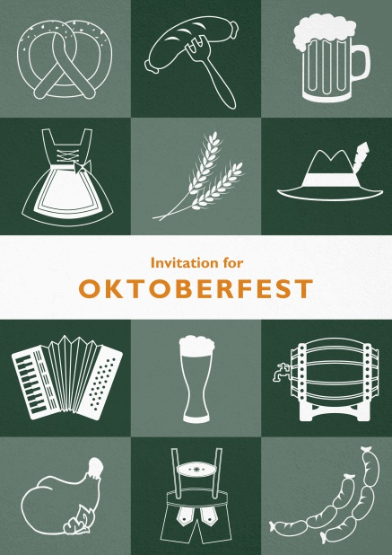 Card template for Oktoberfest invitations with fun images like beer, sausage, dirndl and lederhosen. Green.