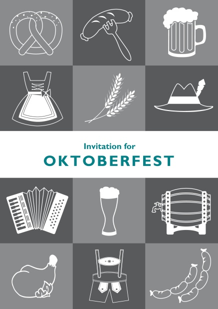 Card template for Oktoberfest online invitations with fun images like beer, sausage, dirndl and lederhosen. Grey.