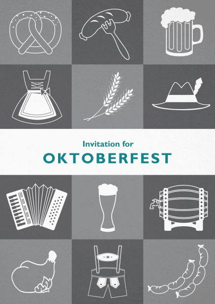 Card template for Oktoberfest invitations with fun images like beer, sausage, dirndl and lederhosen. Grey.