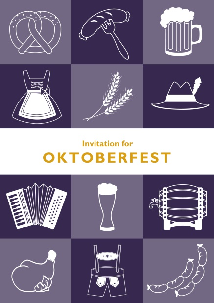 Card template for Oktoberfest online invitations with fun images like beer, sausage, dirndl and lederhosen. Purple.