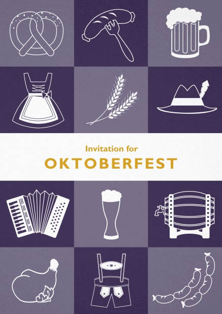 Card template for Oktoberfest invitations with fun images like beer, sausage, dirndl and lederhosen. Purple.