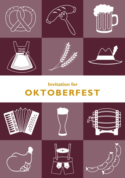 Card template for Oktoberfest online invitations with fun images like beer, sausage, dirndl and lederhosen. Red.