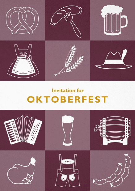 Card template for Oktoberfest invitations with fun images like beer, sausage, dirndl and lederhosen. Red.