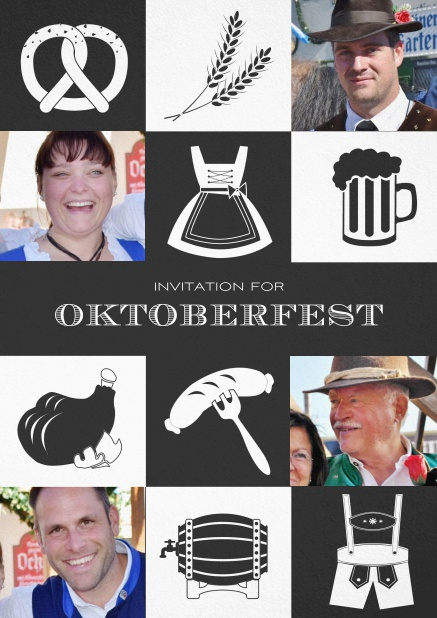 Bavarian invitation template with classic Oktoberfest stuff with photos. Black.