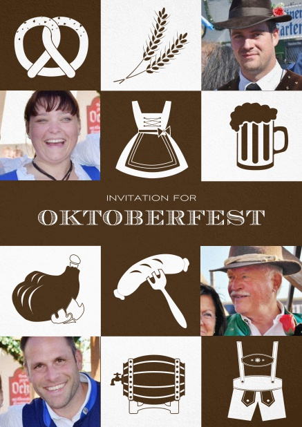 Bavarian invitation template with classic Oktoberfest stuff with photos. Brown.