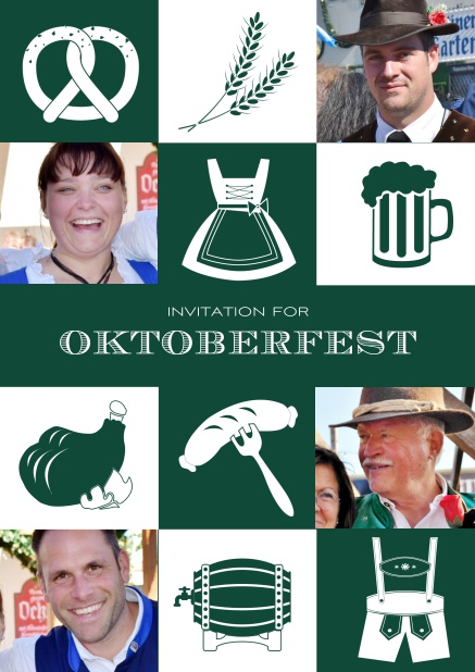 Bavarian online invitation template with classic Oktoberfest stuff with photos. Green.