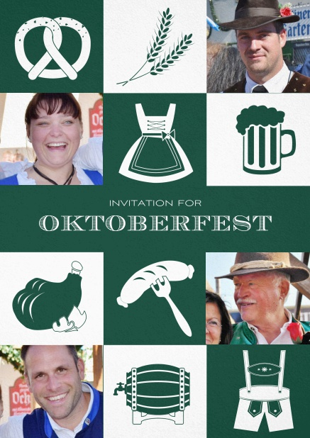 Bavarian invitation template with classic Oktoberfest stuff with photos. Green.