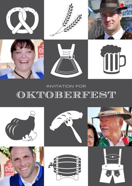 Bavarian online invitation template with classic Oktoberfest stuff with photos. Grey.