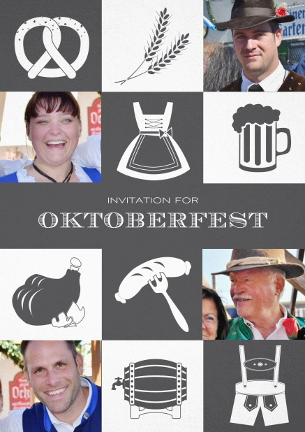 Bavarian invitation template with classic Oktoberfest stuff with photos. Grey.