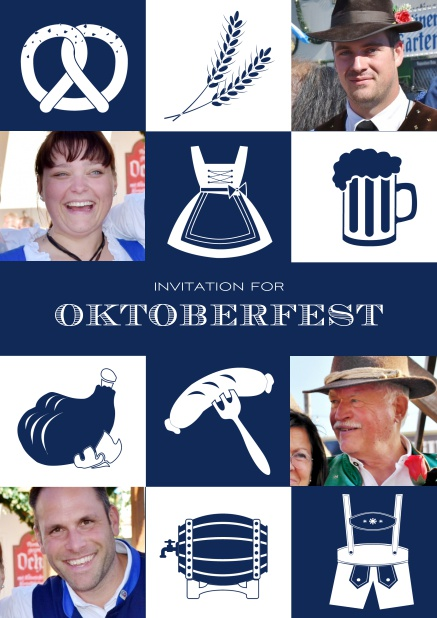 Bavarian online invitation template with classic Oktoberfest stuff with photos. Navy.