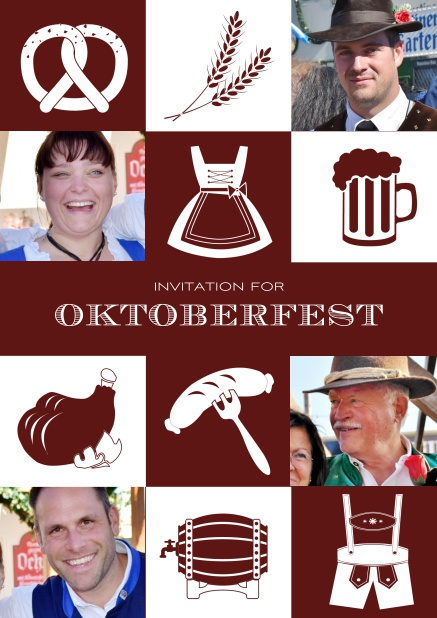Bavarian online invitation template with classic Oktoberfest stuff with photos. Red.