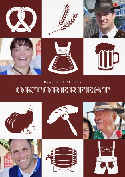 Bavarian invitation template with classic Oktoberfest stuff with photos. Red.