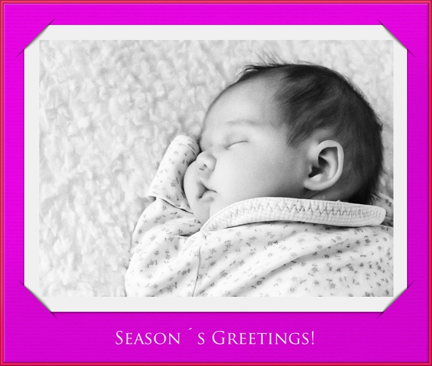 Purple Christmas Card with Photo Card and Red Border.