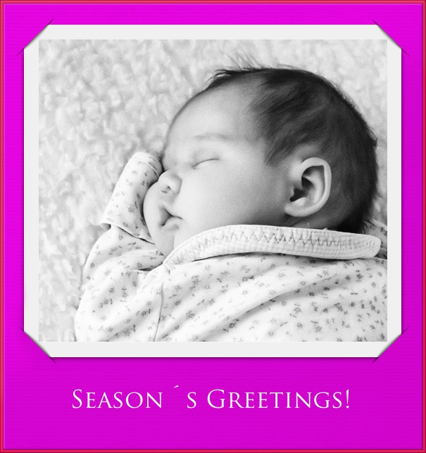High Purple Christmas Card with Photo Card and Red Border.