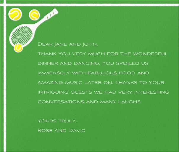 Green Sports Themed Card with Tennis Racquet.