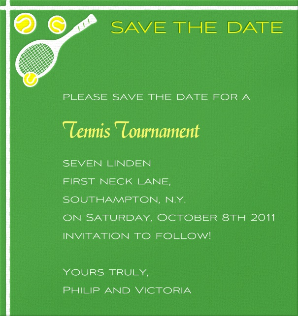 High Green Sport Themed Save the Date Card with Tennis Ball and Racquets.