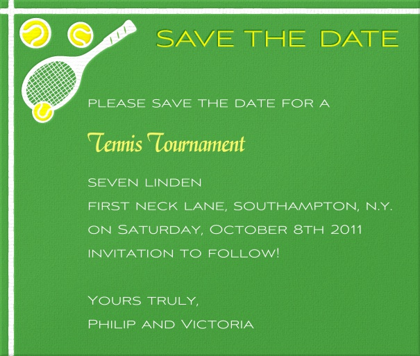 Green Sport Themed Save the Date Card with Tennis Ball and Racquets.