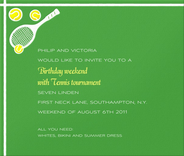 Square Themed Tennis Invitation card with Tennis Racquets and ball.