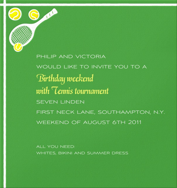 High Format Themed Tennis Invitation card with Tennis Racquets and ball.