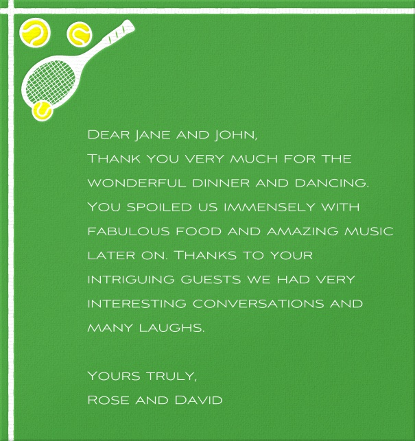 High Green Sports Themed Card with Tennis Racquet.