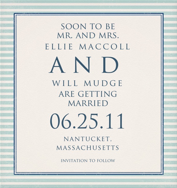 Save the Date Card for wedding announcement and with blue striped border.