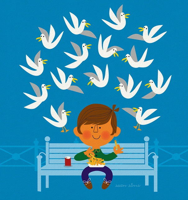 Blue Invitation Card for children events with man on a bench and doves.
