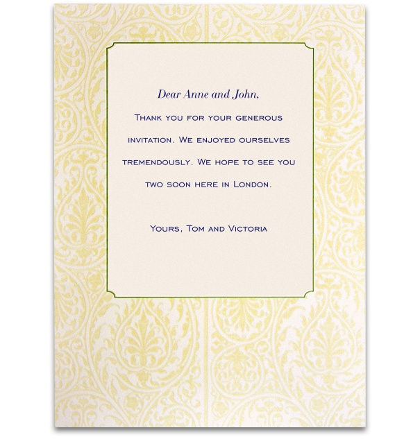 Online card with wide golden floral frame.