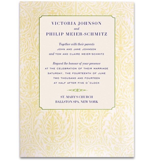 Formal Wedding Invitation with wide golden floral frame and blue and grey font.