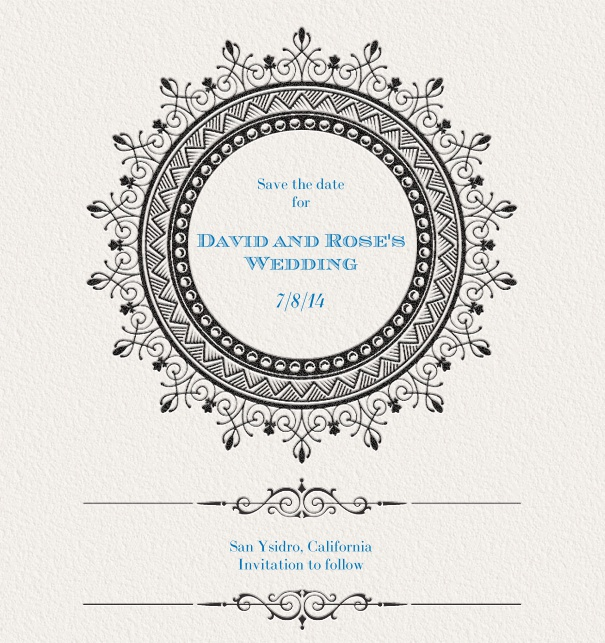 Save the Date Card for weddings with gothic theme.
