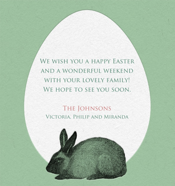 Online card with green colored paper and white egg for text and a rabbit lower middle.