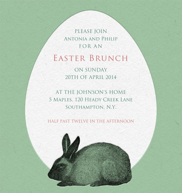 Green Easter Egg card with Easter Bunny designed with editbale text for online invitations.