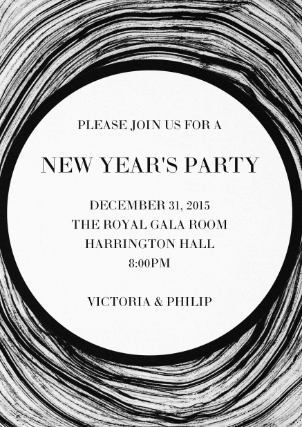 Invitation card with dark swirl and matching text.