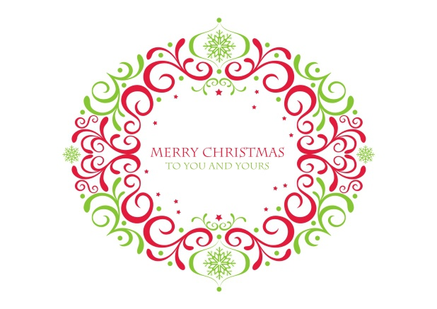 Christmas Card with red-green ornament.