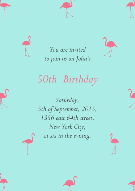 Blue online invitation card with pink flamingos