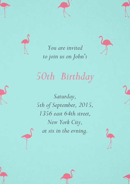 Blue invitation card with pink flamingos