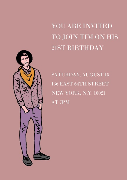 Online Invitation In Purple With Young Man For 21st Birthday