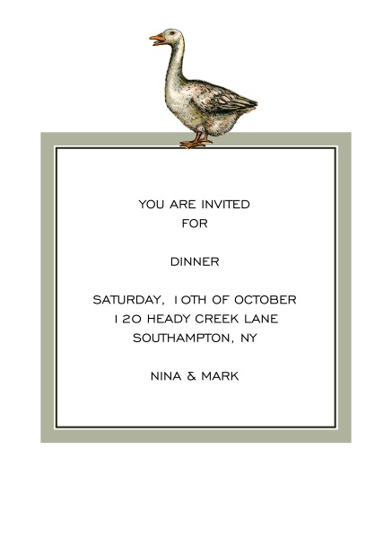 Online Dinner invitation card with a hand illustrated grey goose over a grey framed editable text field.