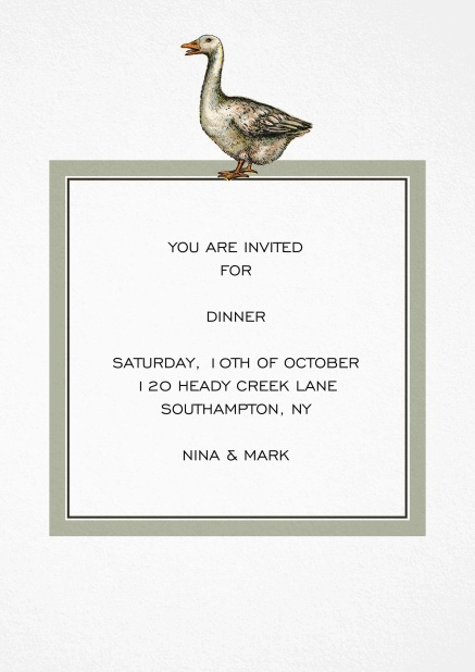 Dinner invitation card with a hand illustrated grey goose over a grey framed editable text field.
