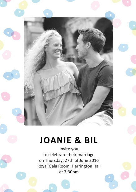 Online Wedding invitation card with coloruful circles around a photo and text.