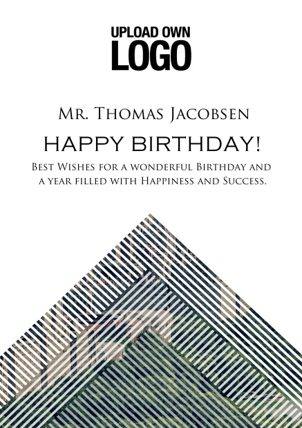 Online Corporate Birthday greeting card with trianglular photo field with white lines.