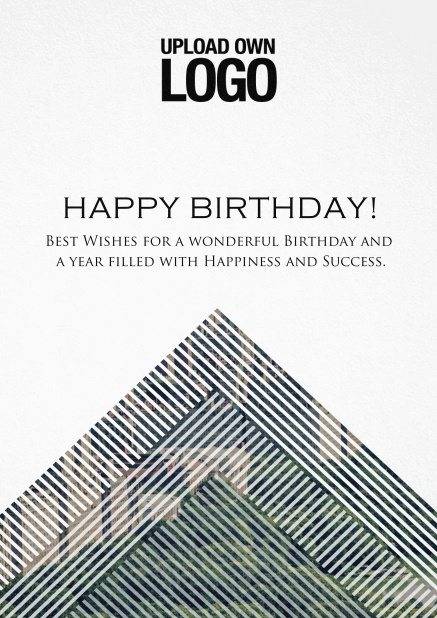 Corporate Birthday greeting card with trianglular photo field with white lines.