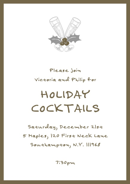 Online Christmas party invitation card with champagne glasses and Christmas deco. Brown.