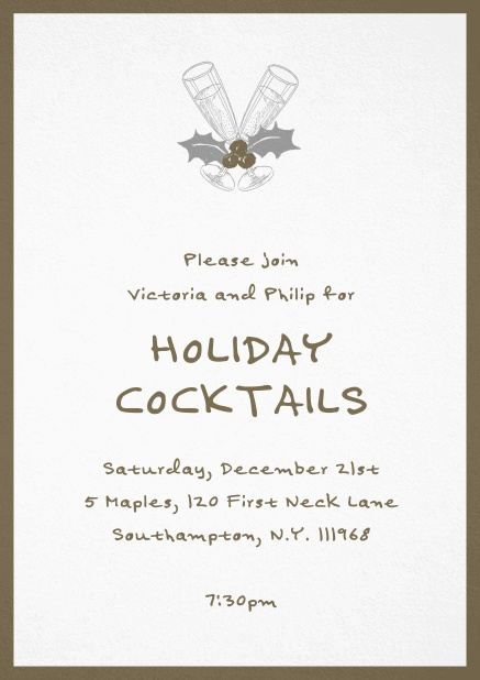 Christmas party invitation card with champagne glasses and Christmas deco. Brown.