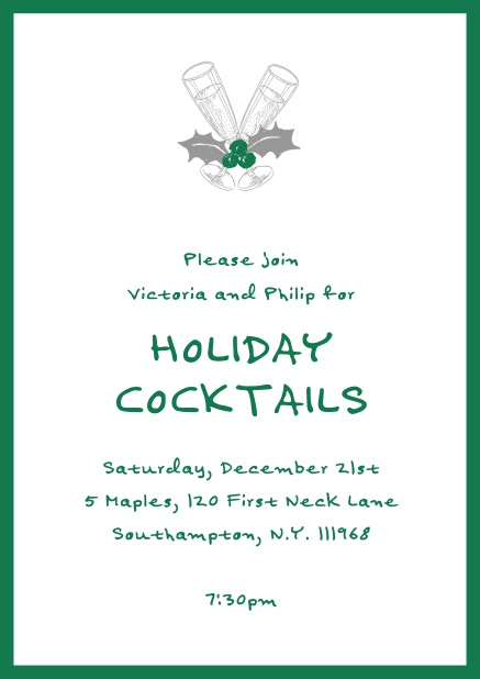 Online Christmas party invitation card with champagne glasses and Christmas deco. Green.