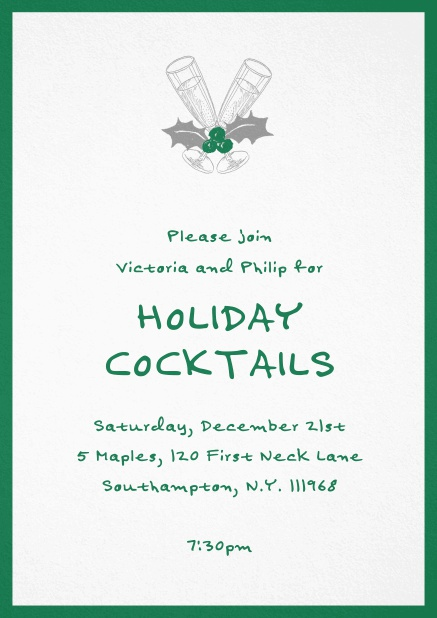 Christmas party invitation card with champagne glasses and Christmas deco. Green.